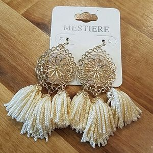 Jewelry - Ivory and Gold tone Filagree Tassel Earrings